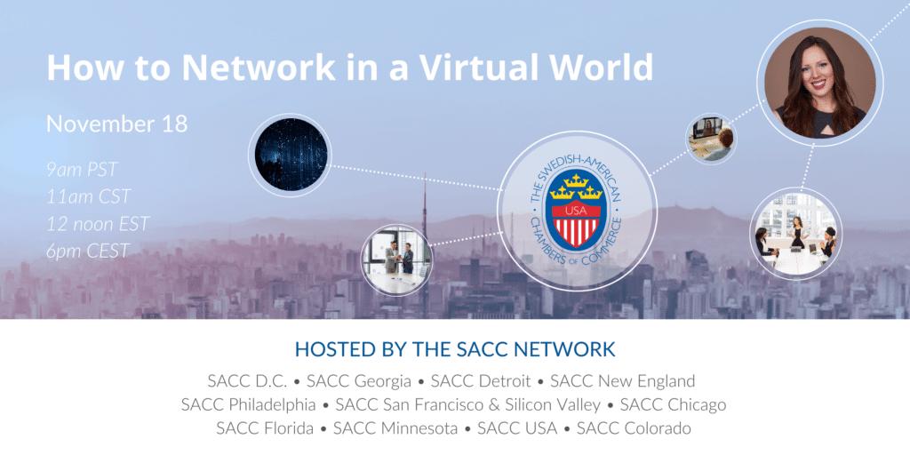 """Bild med texten """"How to network in a virtual world. Eventinfo som hölls 18 november."""